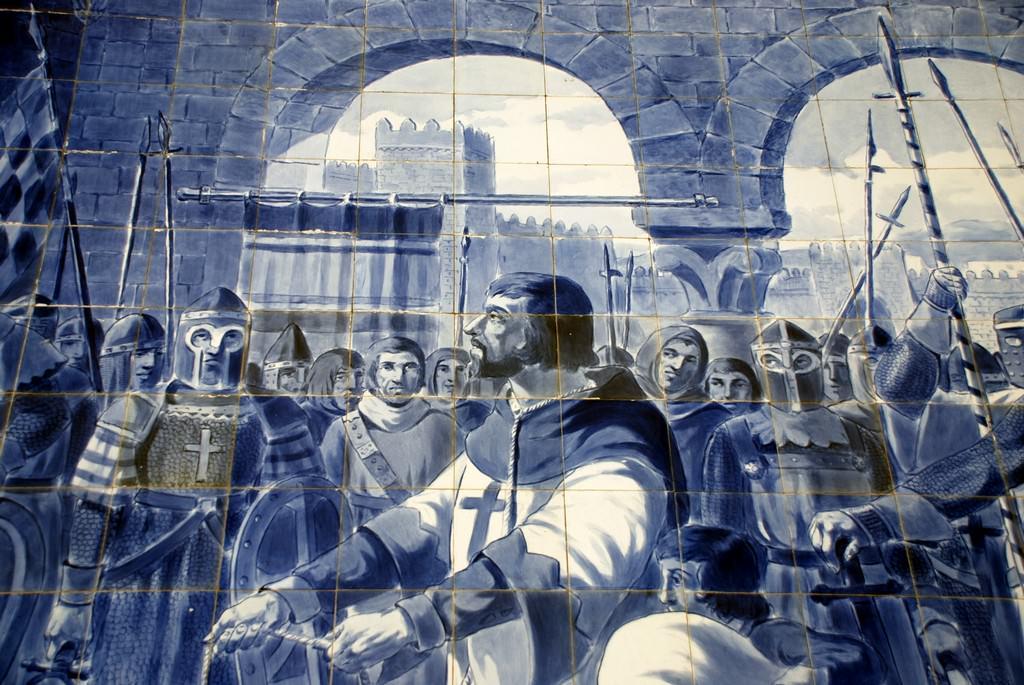 Egas Moniz apresentando-se ao rei de Leão com a sua família - Painel de Azulejo na Estação de São Bento (Porto) - O cavaleiro da palavra dada.