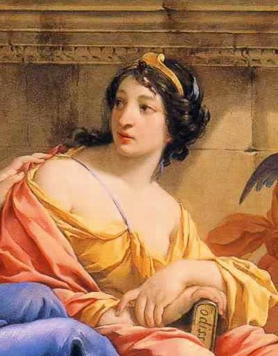 """Detalhe de pintura """"The Muses Urania e Calliope"""" por Simon Vouet, em que Calíope segura uma cópia da Odisseia."""