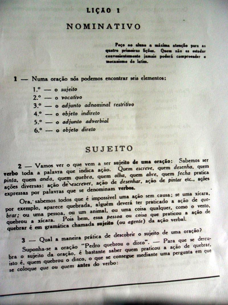 Primeira Lição da Gramática Latina de Napoleão Mendes de Almeida